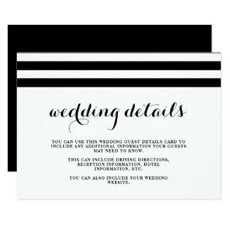 Cartão Detalhes preto e branco do convidado do casamento