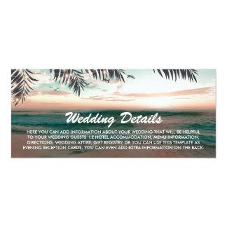 Cartão Detalhes tropicais do casamento de praia da