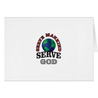 Cartão deus e humanidade do saque do globo