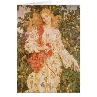 Cartão Deusa das flores e das flores, flora por Morgan
