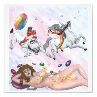 Cartão Deusa de sono que sonha do deus que monta uma leoa