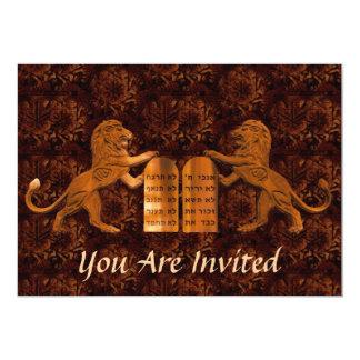 Cartão Dez mandamentos e bares dos leões/bastão Mitzvah
