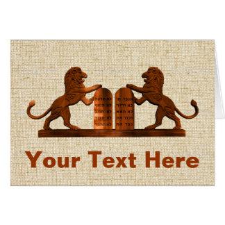 Cartão Dez mandamentos e leões