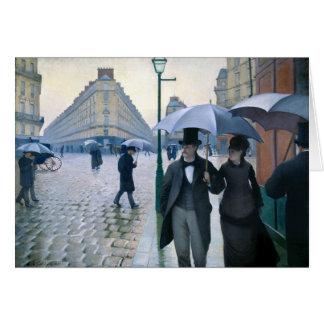 Cartão Dia chuvoso da rua de Paris por Gustave