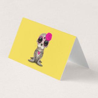 Cartão Dia cor-de-rosa do leão de mar inoperante do bebê