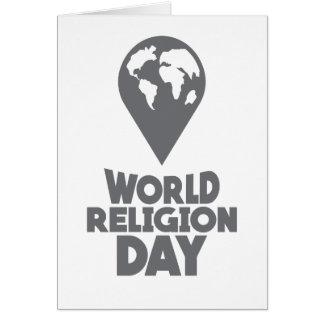 Cartão Dia da religião do mundo - dia da apreciação