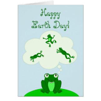 Cartão Dia da Terra verde feliz com sapo deSonho!