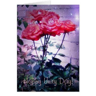 Cartão Dia da unidade do russo, rosas vermelhas