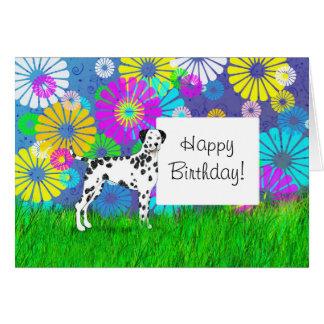 Cartão Dia Dalmatian do aniversário do cão