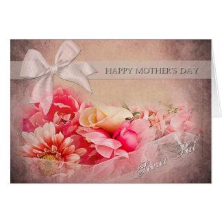 Cartão Dia das mães - amigo secreto - flores cor-de-rosa