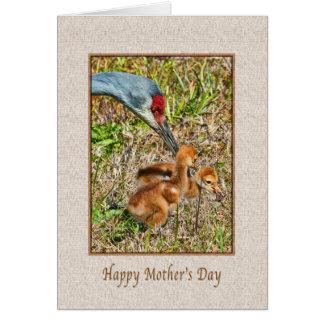 Cartão Dia das mães com os pássaros do guindaste de