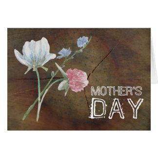 Cartão Dia das mães da madeira de carvalho do Wildflower