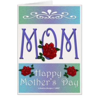 Cartão Dia das mães das rosas vermelhas da MAMÃ