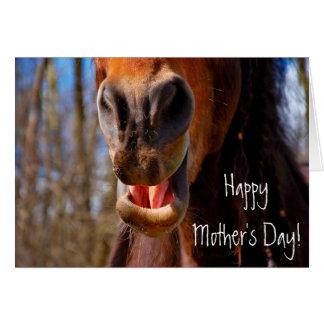 Cartão Dia das mães de sorriso personalizado do cavalo
