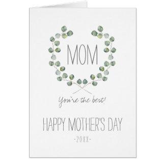 Cartão Dia das mães do quadro   da folha do eucalipto da