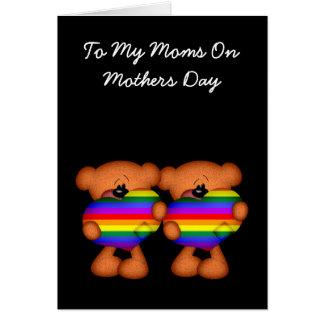 Cartão Dia das mães do urso de ursinho do coração do
