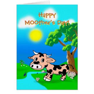 Cartão Dia das mães dos príncipes cor-de-rosa com vaca e