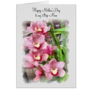 Cartão Dia das mães feliz a minhas orquídeas do rosa da
