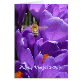 """Cartão Dia das mães feliz! """"Açafrões e abelha do mel """""""