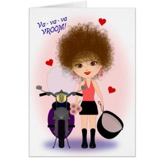 Cartão Dia das mães feliz com um Mama da motocicleta!