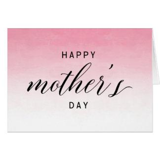 Cartão Dia das mães feliz cor-de-rosa da aguarela | de