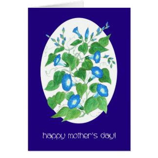 Cartão Dia das mães floral da corriola azul bonito