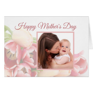 Cartão Dia das mães floral do rosa moderno feito sob