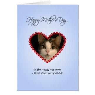 Cartão Dia das mães personalizado da mamã do gato da foto