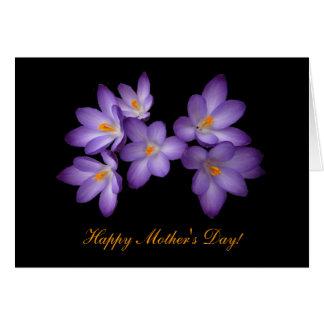 Cartão Dia das mães roxo do açafrão