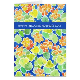 Cartão Dia das mães tardivo floral das chagas brilhantes