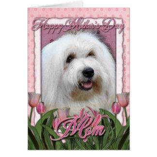 Cartão Dia das mães - tulipas cor-de-rosa - algodão de