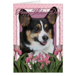 Cartão Dia das mães - tulipas cor-de-rosa - Corgi