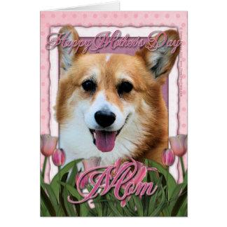 Cartão Dia das mães - tulipas cor-de-rosa - Corgi - Owen