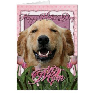 Cartão Dia das mães - tulipas cor-de-rosa - golden