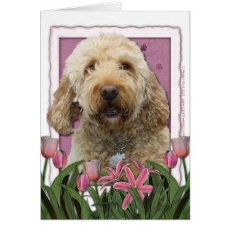 Cartão Dia das mães - tulipas cor-de-rosa - GoldenDoodle