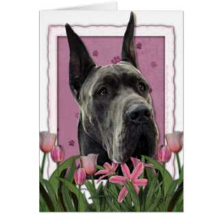 Cartão Dia das mães - tulipas cor-de-rosa - great dane -