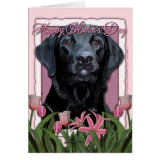 Cartão Dia das mães - tulipas cor-de-rosa - Labrador -