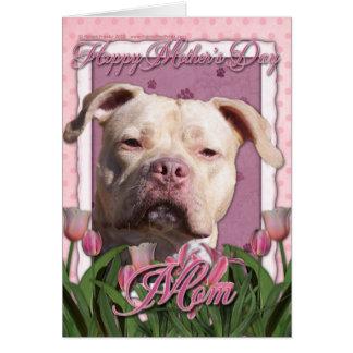 Cartão Dia das mães - tulipas cor-de-rosa - Pitbull -