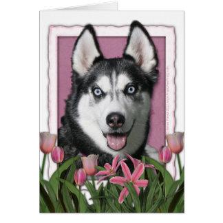 Cartão Dia das mães - tulipas cor-de-rosa - rouco
