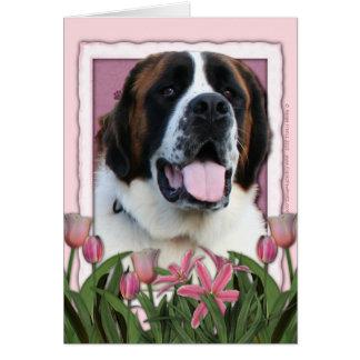 Cartão Dia das mães - tulipas cor-de-rosa - St Bernard -