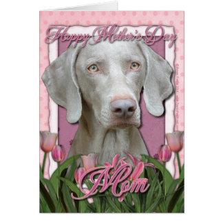 Cartão Dia das mães - tulipas cor-de-rosa - Weimaraner -