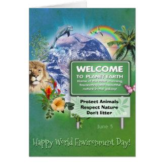 Cartão Dia de ambiente de mundo feliz