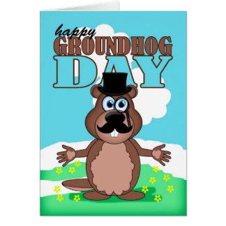 Cartão Dia de Groundhog do Moustache do bigode com