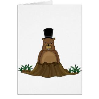 Cartão Dia de Groundhog - estilo dos desenhos animados