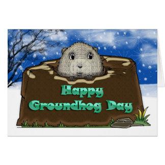 Cartão Dia de Groundhog feliz,