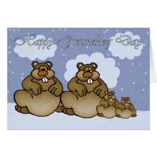 Cartão Dia de Groundhog feliz, família de Groundhog