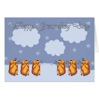 Cartão Dia de Groundhog feliz que assobia Groundhogs