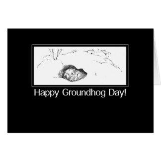 Cartão Dia de Groundhog preto e branco