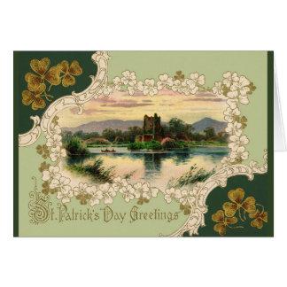 Cartão Dia de Killarney St Patrick do castelo de Ross do