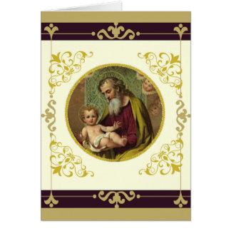 Cartão DIA DE OS PAIS de Jesus de St Joseph & de criança